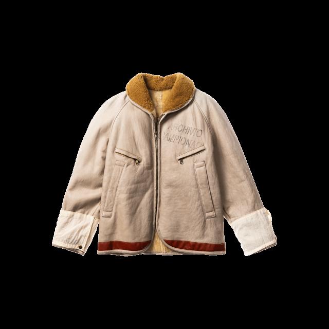 Sheepskin nylon mixed jacket