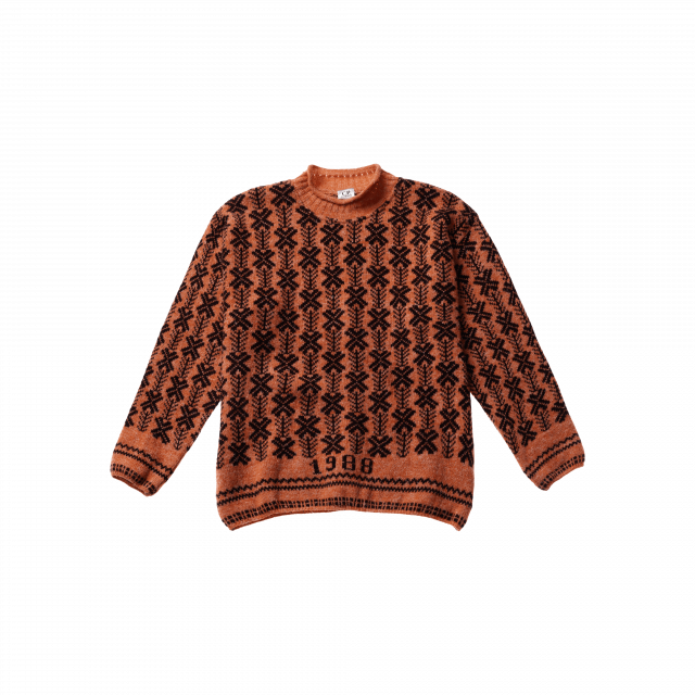 All-Over Pattern Jacquard Wool Sweater
